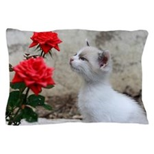 Kitten and flowers Pillow Case