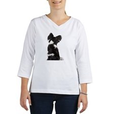 Crossbreed dog sitting Women's Long Sleeve Shirt (3/4 Sleeve)
