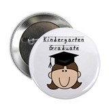 Girl Kindergarten Grad (brown) Button
