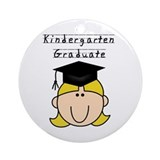 Girl Kindergarten Grad (blond) Ornament (Round)