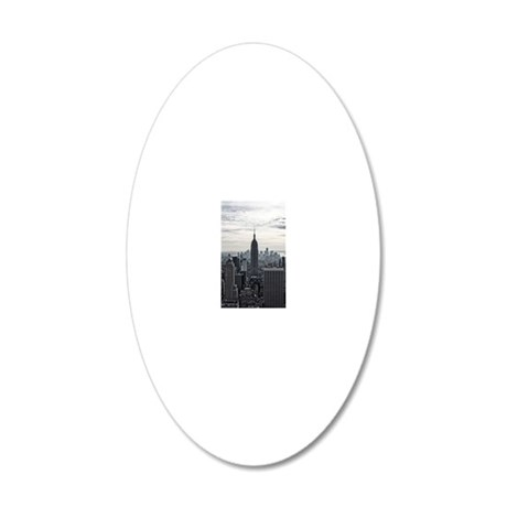 View of city 20x12 Oval Wall Decal