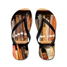 Old books in library Flip Flops