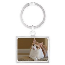 Orange cat resting on carpet Landscape Keychain