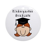 Girl Kindergarten Grad (redhead) Ornament (Round)
