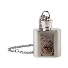 Male snow leopard Flask Necklace