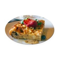 Close up of bread pudding Oval Car Magnet