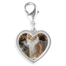 Maine Coon Cat Silver Heart Charm