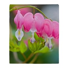 Bleeding heart pink flowers Throw Blanket