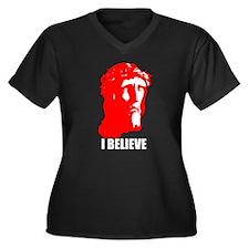 I BELIEVE Women's Plus Size V-Neck Dark T-Shirt