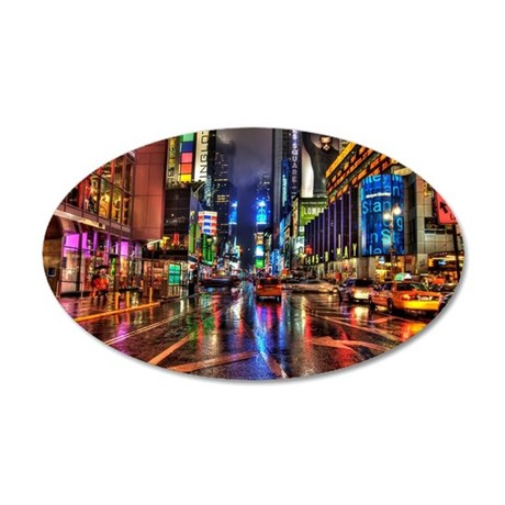 Times Square at night 35x21 Oval Wall Decal