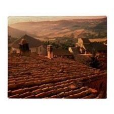 Tuscan landscape viewed over pantile Throw Blanket