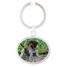 German shorthaired pointer puppy Oval Keychain