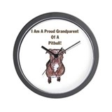 Proud Pitbull Grandparent Wall Clock