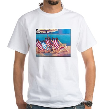 Beach Chairs White T-Shirt