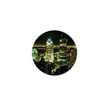 Montreal skyline at night, Canada Mini Button