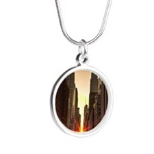 Manhattanhenge 2011 Silver Round Necklace
