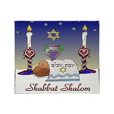 Judaica Shabbat Shalom Throw Blanket
