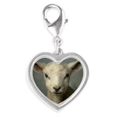 Cute new born lamb Silver Heart Charm