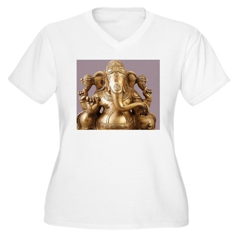 Statue of Lord Ga Women's Plus Size V-Neck T-Shirt