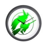 Green Flying Witch Wall Clock