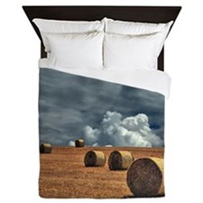 Hay bales in field Queen Duvet