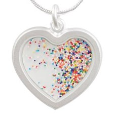 Sprinkles on dessert Silver Heart Necklace