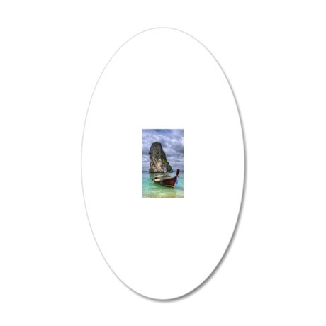 Long Tail Boat floating on t 20x12 Oval Wall Decal
