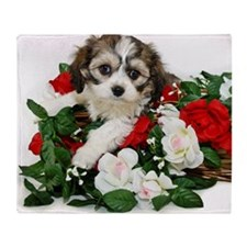 Cute cavachon puppy Throw Blanket