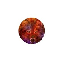 Fire Wolf Mini Button