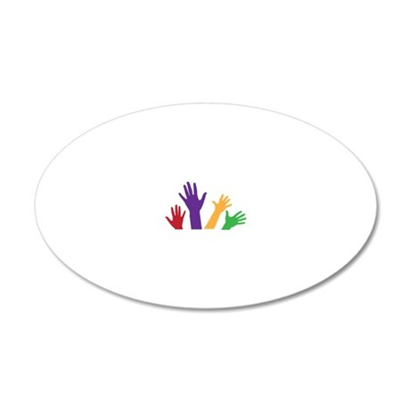 Hands 20x12 Oval Wall Decal