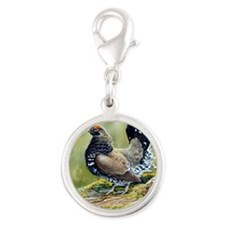 Spruce Grouse Silver Round Charm