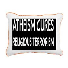atheismcuresbutton Rectangular Canvas Pillow