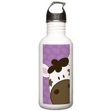 Purple Cute Cow Sports Water Bottle