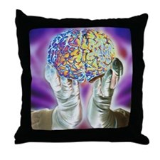 loved hands holding a human brain in  Throw Pillow