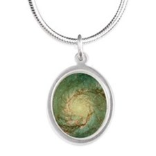 M51 whirlpool galaxy Silver Oval Necklace