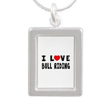 I Love Bull Riding Silver Portrait Necklace