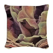 Skin surface, SEM Woven Throw Pillow