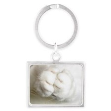 White Furry Cat Paws Praying Landscape Keychain