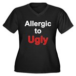 Allergic To Ugly Women's Plus Size V-Neck Dark T-S