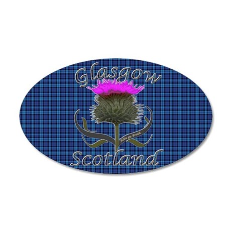 Glasgow Scotland blue tartan 35x21 Oval Wall Decal