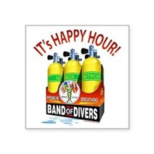 "Band of Divers Happy Hour Square Sticker 3"" x 3"""
