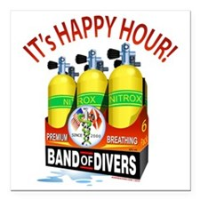 "Band of Divers Happy Hou Square Car Magnet 3"" x 3"""