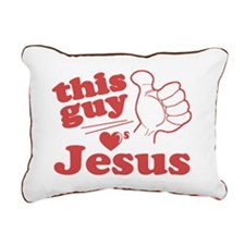 This Guy Loves Jesus Rectangular Canvas Pillow