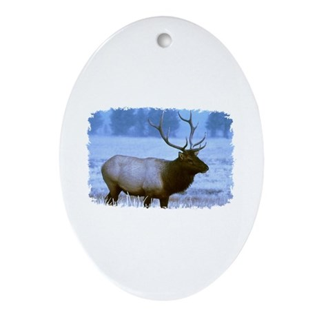 Bull Elk Oval Ornament