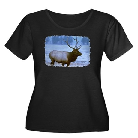 Bull Elk Women's Plus Size Scoop Neck Dark T-Shirt