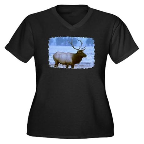 Bull Elk Women's Plus Size V-Neck Dark T-Shirt