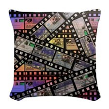 Photographic film, computer ar Woven Throw Pillow
