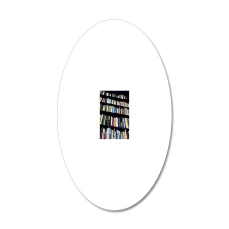 Books on bookshelves 20x12 Oval Wall Decal