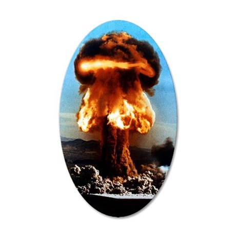 Atomic bomb explosion 35x21 Oval Wall Decal