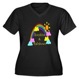Sunshine Rainbows Women's Plus Size V-Neck Dark T-